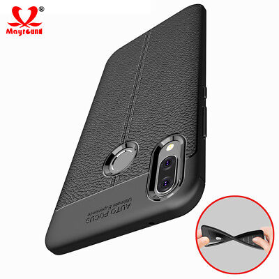 For Huawei Y9 2019 Shockproof Rubber Slim TPU Leather Back Case Cover Shell Skin