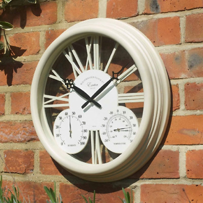 "Smart Garden Exeter Wall Clock & Thermometer 15"" Cream"