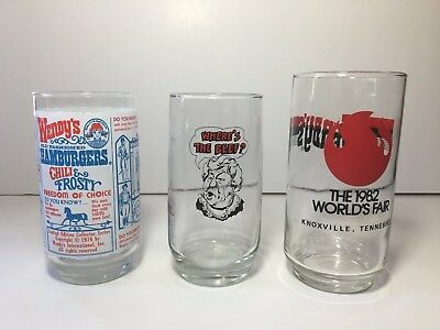 Wendy's Glasses(3) - Where's The Beef, 1982 World's Fair & 1976 Limited Edition