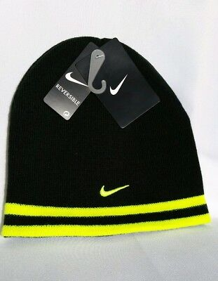 c75431d8ca5 Nike Knit Winter Beanie Reversible Hat Black Volt Boys Youth Size 8 20 One  Size