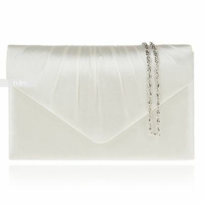 New Ivory Satin Wedding Ladies Party Prom Evening Clutch Hand Bag Purse Handbag