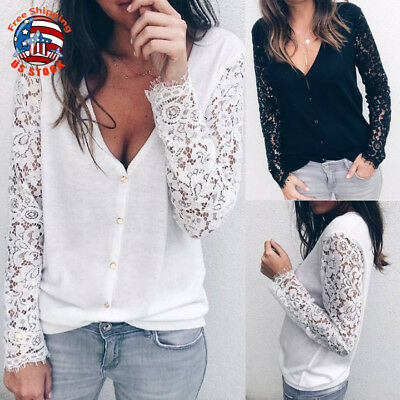 Sexy Women Lace Tops Long Sleeve V-Neck Casual Blouse T-Shirt Reversible Clothes