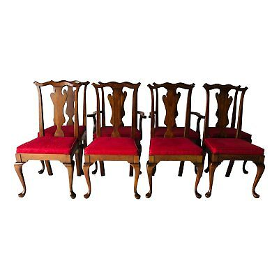 Vintage Pennsylvania House  Cherry  Set of 8 Queen Ann Mahogany Dining Chairs