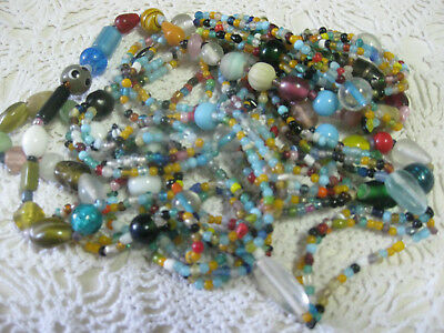 """#22 From New Orleans-Glass Mardi Gras Carnival Beads- 2 """"triple strands"""" +1"""