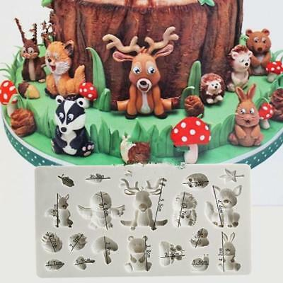 3D Silicone Forest Animals Fondant Chocolate Baking Mould Icing Cake Decor Z