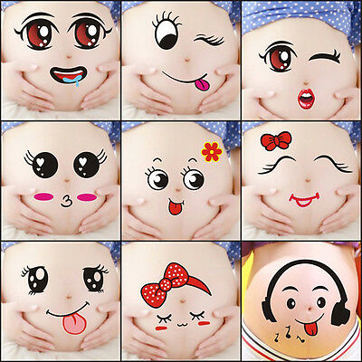 Pregnant WOMEN Belly Stickers Baby Shower Photo Props Reveal Party Decora HOT