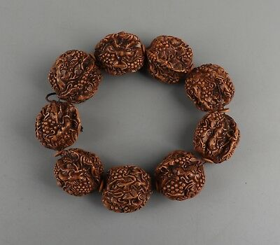 Chinese Exquisite Hand-carved Squirrels and fruit carving walnut Bracelets