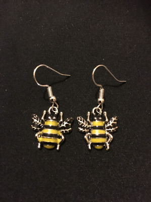 9b8edced8 Silver Plated Honey Bee Earrings Jewellery Gift Present Quirky Bumble  UnusualFun