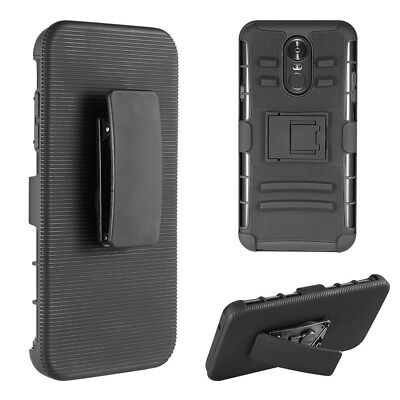 For LG Stylo 4 Hybrid Shockproof Holster Stand case with 2 pk Tempered Glass