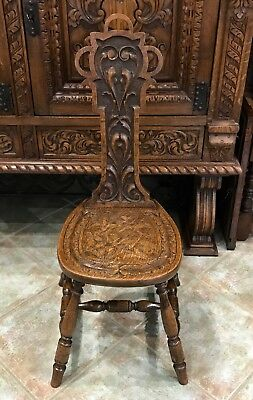 Beautiful Antique Carved Oak Spinning Milking Sewing Chair