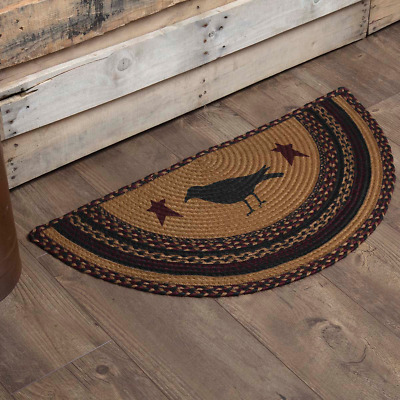 New Rustic Red Green CHRISTMAS HOLLY BERRY Jute Braided Rug Half Circle