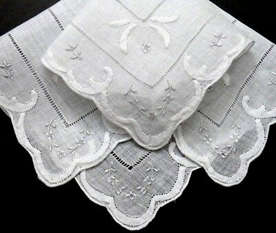 Vintage Madeira Linen Hanky, Embroidery Appliqué - 4 Corners - Wedding Perfect