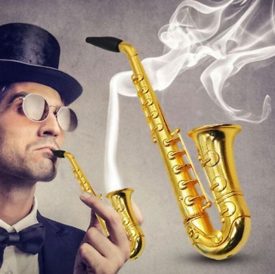 1X Small Saxophone tobacco pipe Portable metal trumpet pipe herb smoking pipes