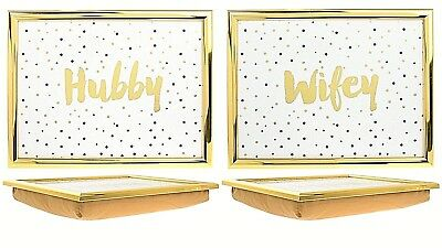 Set Of 2 Golden Edge HUBBY & WIFEY Bean Bag Cushioned TV Food Serving Lap Tray