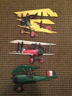 Vintage Homco Sexton  Airplanes Planes Cast Metal Wall Art Decor Lot Of 3 (#1)