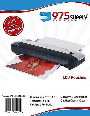 """975 Supply 5mil. Letter Thermal Laminating Pouches 9"""" x 11.5"""" - 100 Pouches"""