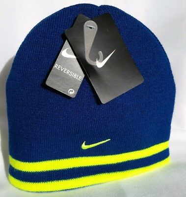 3443cd1c457a0 Youth Nike Beanie Knit Winter Reversible Hat Gym Blue Volt Boys One Size