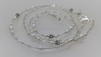 Beaded Spectacle Chain Glasses Sunglasses Handcrafted Eyeglass Silver Pearl S406