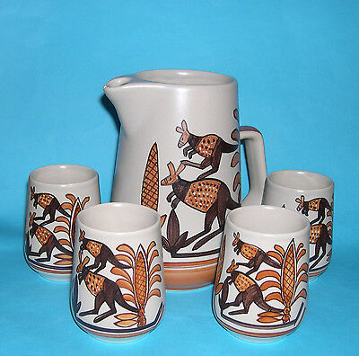 Studio Anna Australian Pottery - Water Jug & Four Beakers - Kangaroo Design