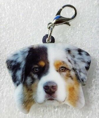 Australian Shepherd Dog Head Realistic Acrylic Purse Charm Zipper Pull Jewelry