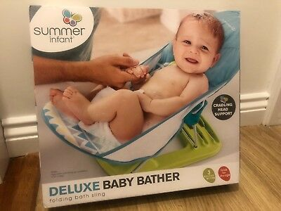 Summer Infant Deluxe Baby Bather blue Bath Support Seat folding Chair NEW