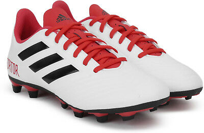 Mens Soccer Cleats ADIDAS PREDATOR 18.4 FLEXIBLE GROUND CLEATS White Red  Cleats 69e7c803b41