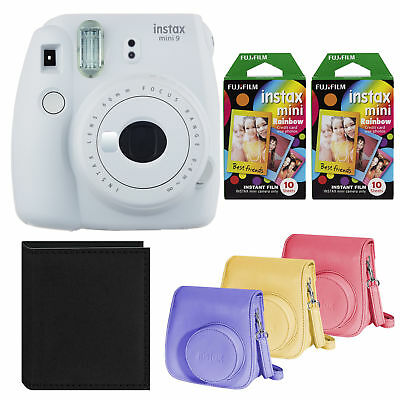 Fujifilm Instax Mini 9 Instant Camera (White) with Rainbow Film and Case Bundle