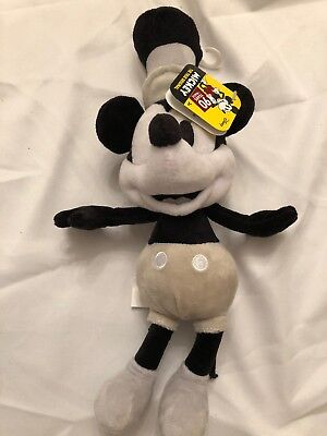 Disney Mickey Mouse 90 Years Of Magic Steamboat Willie Bean Plush Black & White