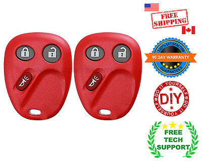 2 New RED Replacement Keyless Entry Remote Control Key Fob CHEVROLET GMC LHJ011