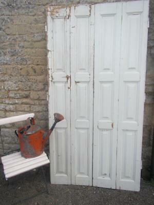 VINTAGE WOODEN FRENCH  WINDOW SHUTTERS Bi Folding 197X102 RECLAIMED CM TALL