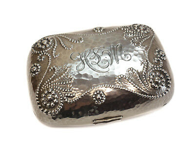 Charles Osborne Whiting Mfg Co Sterling Silver Hand Hammered Soap Box #1709
