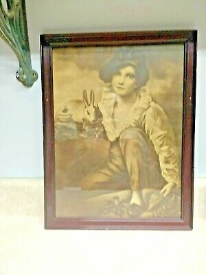 "Antique/Vintage Print Raeburn ""BOY With RABBIT""  Wood Frame"