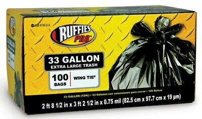 Ruffies Pro 1124923 33 Gallon Large Trash Bag 100 Count
