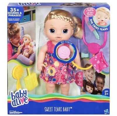 Baby Alive Sweet Tears Blonde Baby Girl Doll 35+ sounds and phrases Interactive*