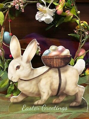 Bethany Lowe White Bunny with Egg Basket Large Dummy Board (BB7992)
