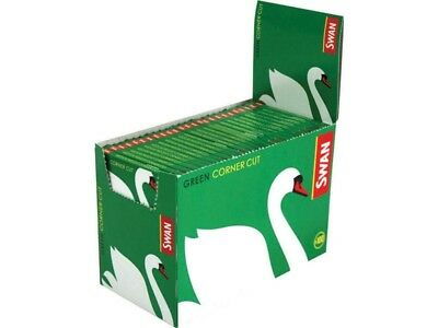 Full Box of 100 Booklets of Swan Green Corner Cut Cigarette Rolling Papers