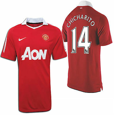 af34e7529e1 NIKE CHICHARITO MANCHESTER United Youth Home Jersey 2010 11 ...