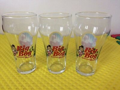 Set of 3 Big Boy Restaurant Coca-Cola Santa Fountain Style Glasses Excellent