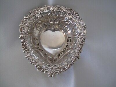 Antique Small Heart Shaped Dish With London Hallmark