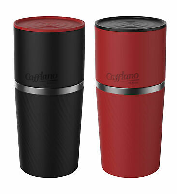 Cafflano Klassic Black Travel All in One and Red Travel All in One Coffee Makers