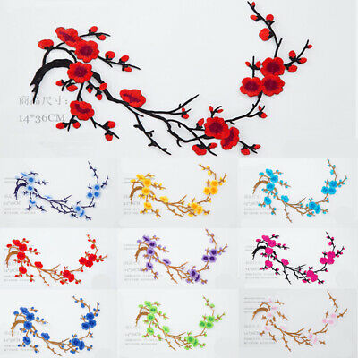 Plum Blossom Flower Crafts Embroidery Sew Iron On Patch Badge Clothes Applique