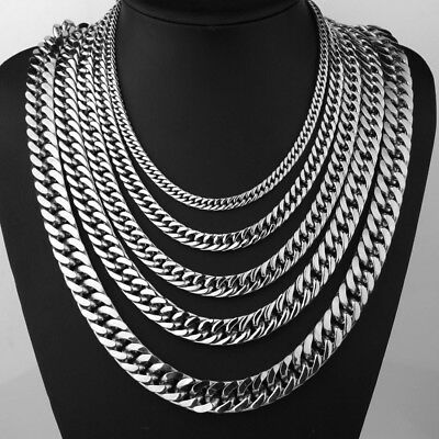 """6/8/12/15MM Men's Silver Stainless Steel Double Link Necklace Curb Chain 18-40"""""""