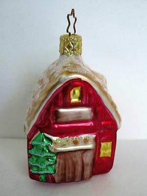 "3"" Red Gold Glitter House Glass Christmas Ornament"