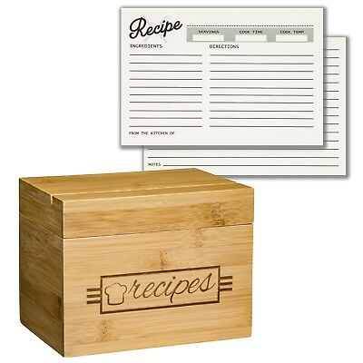 Recipe Box with 100 4x6 Recipe Cards, 10 Card Dividers, and Recipe Holder