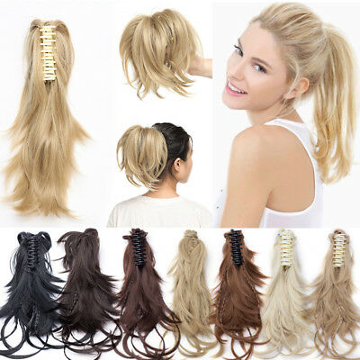 """US Blonde Hair Claw on Ponytail Hair Piece Clip In Pony Tail Messy Curly 12"""" 95g"""