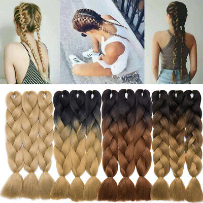 "Premium 24"" Real Long Ombre Xpression Jumbo Kanekalon Braiding Hair Extensions"