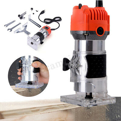 110V 750W 0.25'' Electric Hand Trimmer Wood Laminator Router Joiners Tool Set