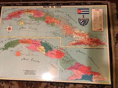 Colorful Vintage Framed Map Of Cuba Spanish Version Laminated