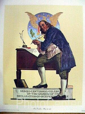 "Vintage Art Norman Rockwell Lithograph on Canvas ""Ben Franklin"""