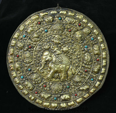 "16"" Antique Old Tibetan Copper Gilt 8 Treasures Animal Elephant Wall Hang Tangka"